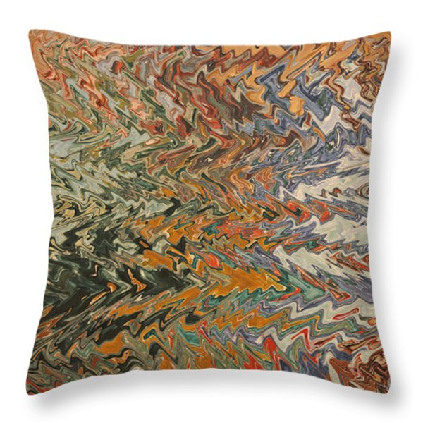 Forces of Nature - Abstract Art Throw Pillow by Carol Groenen
