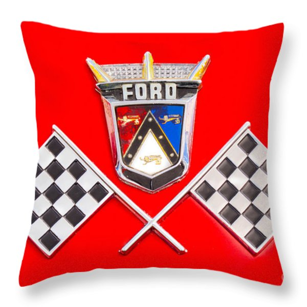 Ford Emblem Throw Pillow by Jerry Fornarotto