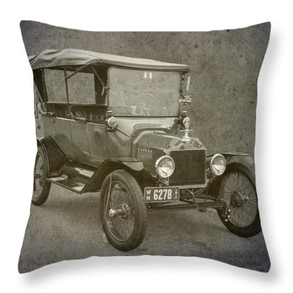 Ford Model T Throw Pillow by Angie Vogel