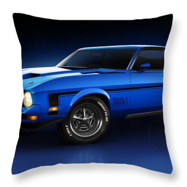 Ford Mustang Mach 1 - Slipstream Throw Pillow by Marc Orphanos