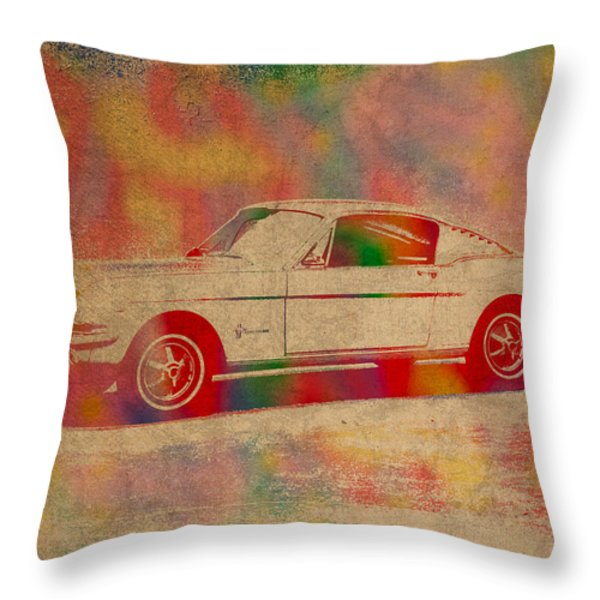 Ford Mustang Watercolor Portrait On Worn Distressed Canvas Throw Pillow by Design Turnpike