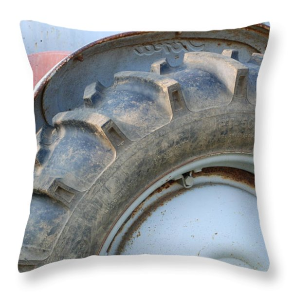Ford Tractor Throw Pillow by Jennifer Ancker