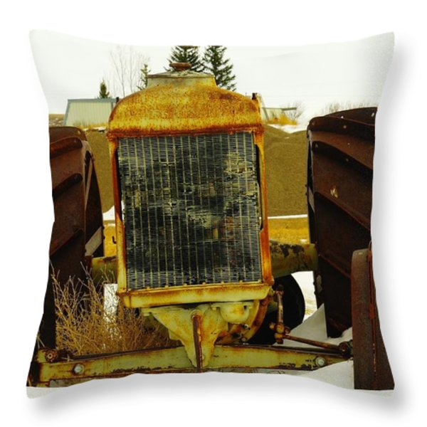 Fordson Tractor Plentywood Montana Throw Pillow by Jeff Swan