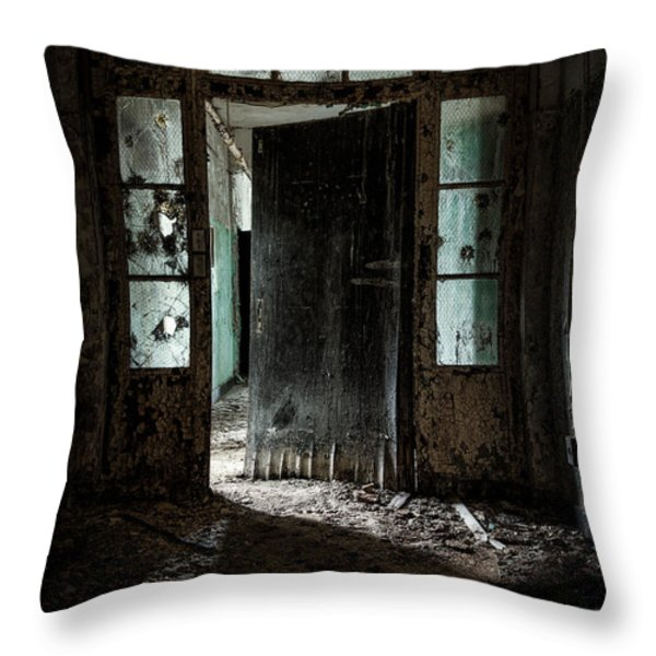 foreboding doorway Throw Pillow by Gary Heller
