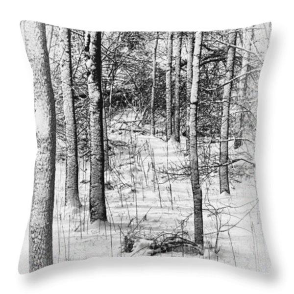 Forest In Winter Throw Pillow by Tom Mc Nemar