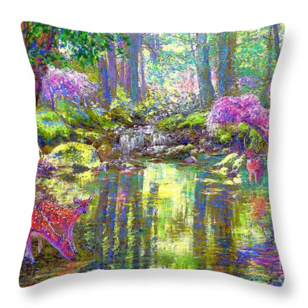 Forest Of Light Throw Pillow by Jane Small