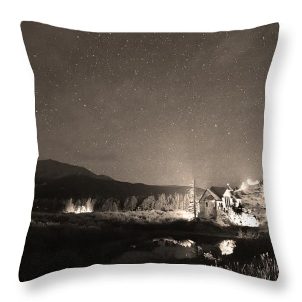Forest of Stars Above The Chapel on the Rock Sepia Throw Pillow by James BO  Insogna