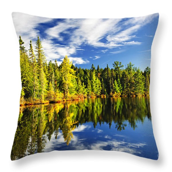 Forest reflecting in lake Throw Pillow by Elena Elisseeva