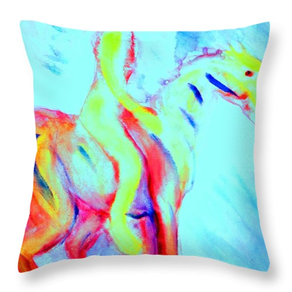 Forever riding my little pony Throw Pillow by Hilde Widerberg