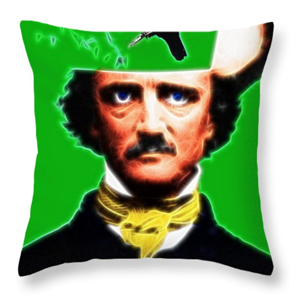 Forevermore - Edgar Allan Poe - Green - With Text Throw Pillow by Wingsdomain Art and Photography