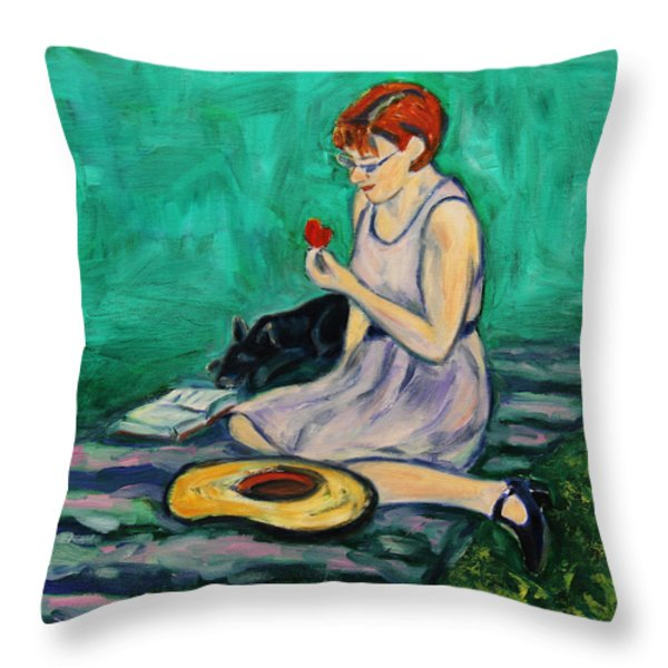Forget Me Not... Throw Pillow by Xueling Zou