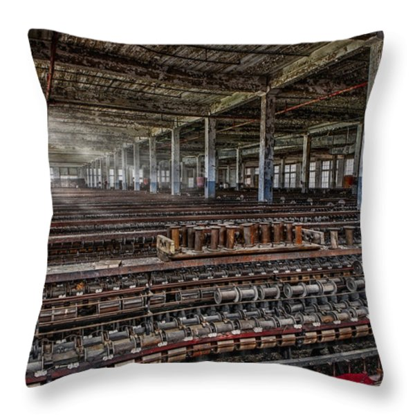 Forgotten Silk Mill Throw Pillow by Susan Candelario