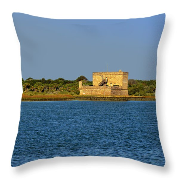 Fort Matanzas - Saint Augustine Florida Throw Pillow by Christine Till