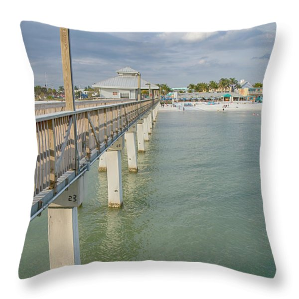Fort Myers Beach Throw Pillow by Kim Hojnacki