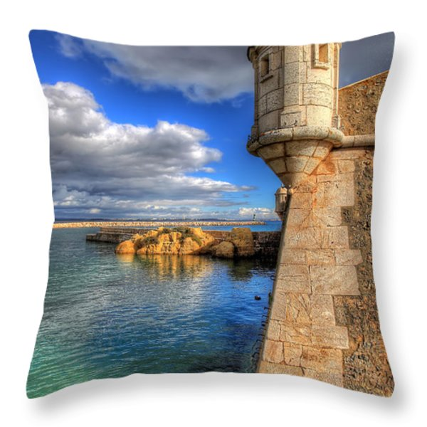 Fort Ponta Bandeira Throw Pillow by English Landscapes