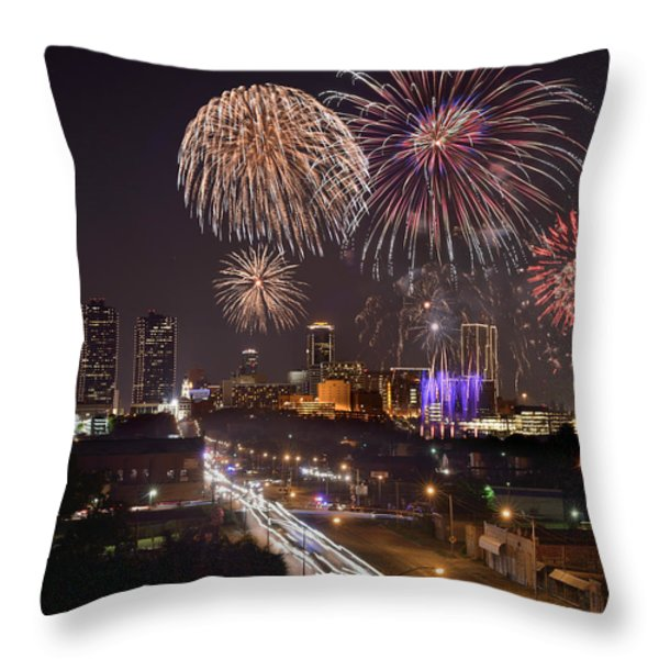 Fort Worth Skyline At Night Fireworks Color Evening Ft. Worth Texas Throw Pillow by Jon Holiday