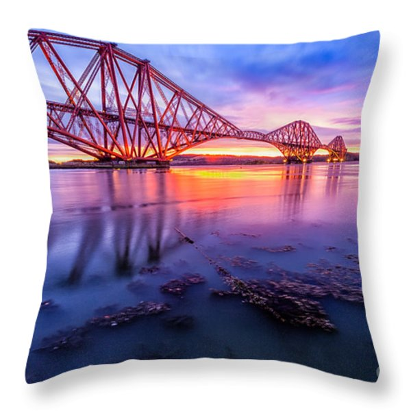 Forth Rail bridge stunning sunrise Throw Pillow by John Farnan