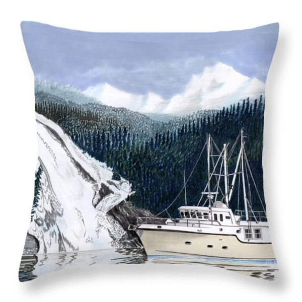 Forty Foot Nordhavn Northern Anchorage Throw Pillow by Jack Pumphrey