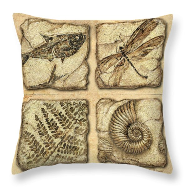Fossils Throw Pillow by JQ Licensing