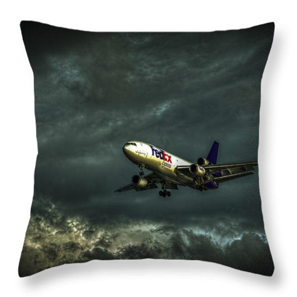 Foul Weather FedEx Throw Pillow by Marvin Spates