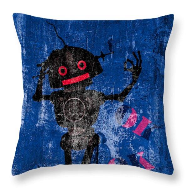 Foundation Number 102 Robot Graffiti  Throw Pillow by Bob Orsillo