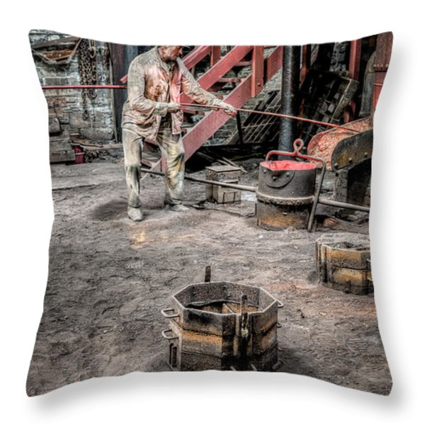Foundry Worker Throw Pillow by Adrian Evans