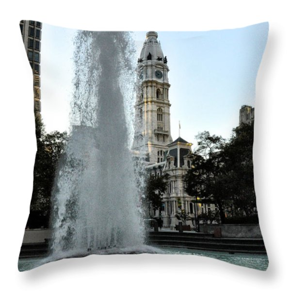 Fountain And Philadelphia City Hall Throw Pillow by Bill Cannon