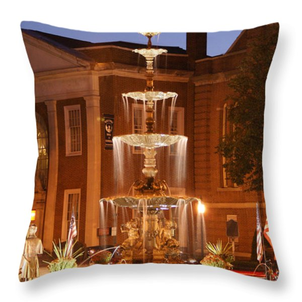 Fountain On Chambersburg Square Throw Pillow by L Granville Laird