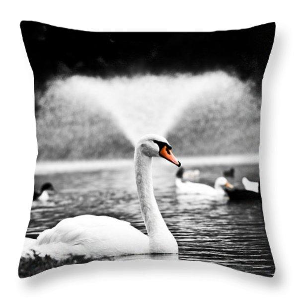 Fountain Swan Throw Pillow by Shane Holsclaw