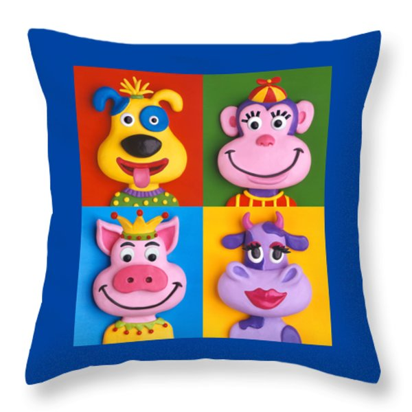 Four Animal Faces Throw Pillow by Amy Vangsgard