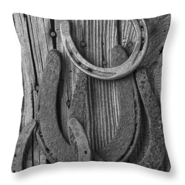 Four Horseshoes Throw Pillow by Garry Gay