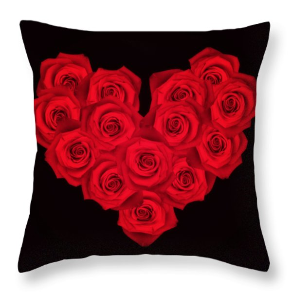Fourteen Roses Throw Pillow by Wim Lanclus