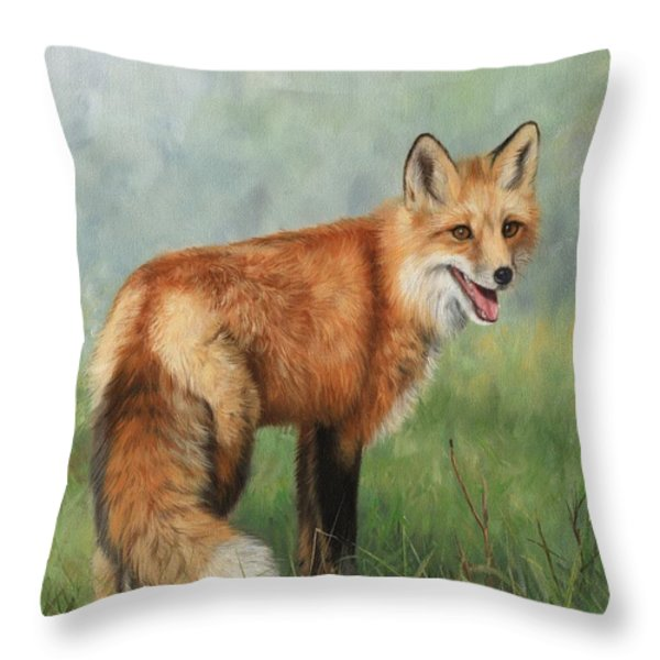 Fox  Throw Pillow by David Stribbling