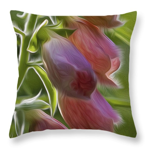 Foxglove Throw Pillow by Bill  Wakeley