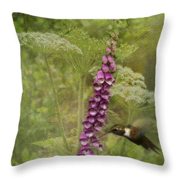 Foxglove Queen Ann's Lace and the Hummingbird Throw Pillow by Diane Schuster