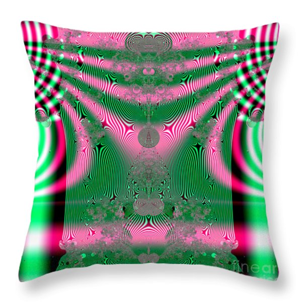 Fractal 34 Kimono In Pink And Green Throw Pillow by Rose Santuci-Sofranko