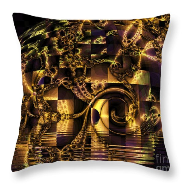 Fractal Flooding Throw Pillow by Elizabeth McTaggart