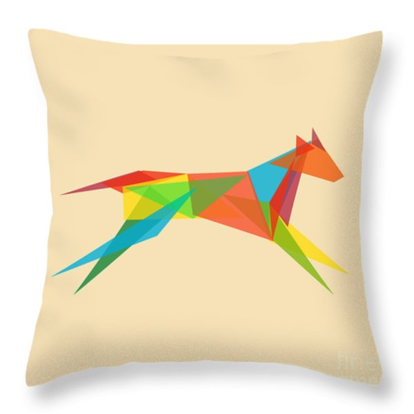 Fractal geometric dog Throw Pillow by Budi Kwan