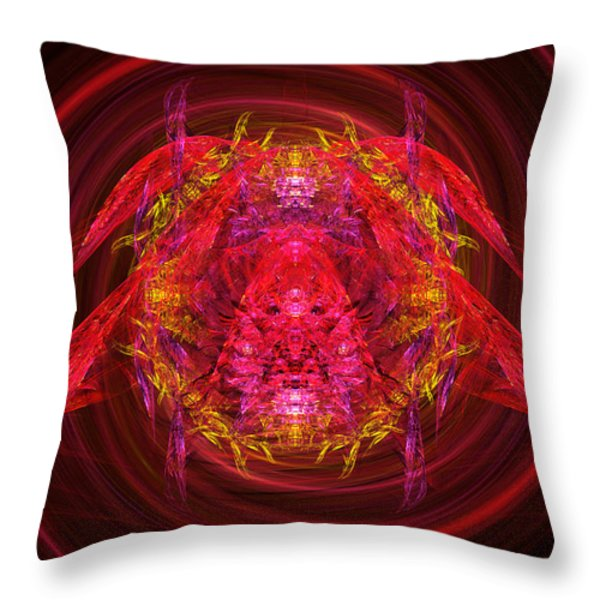 Fractal - Insect - Jeweled Scarab Throw Pillow by Mike Savad