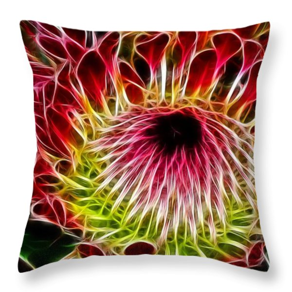 Fractal Protea Throw Pillow by Michael Durst