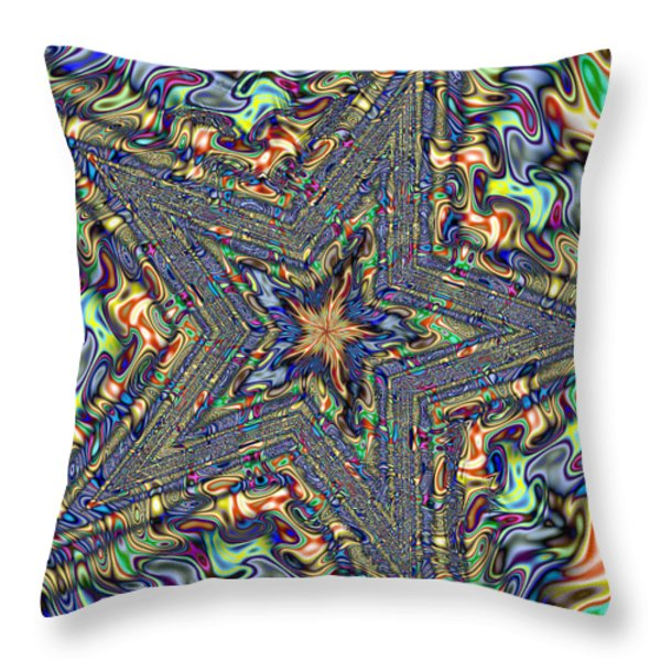 Fractal Star Throw Pillow by Gina Lee Manley