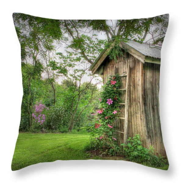 Fragrant Outhouse Throw Pillow by Lori Deiter