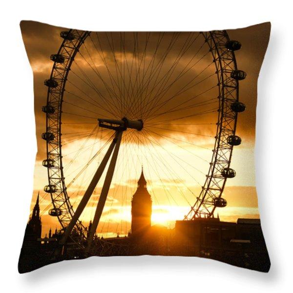 Framing The Sunset In London - The London Eye And Big Ben Throw Pillow by Georgia Mizuleva