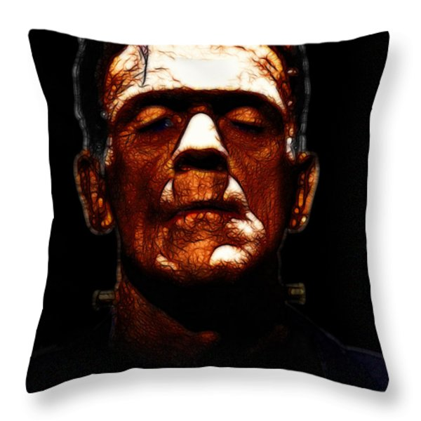 Frankenstein - Black Throw Pillow by Wingsdomain Art and Photography