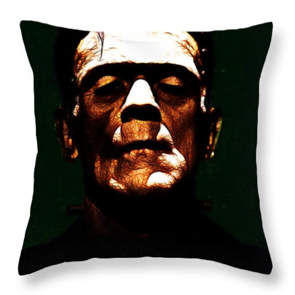 Frankenstein - Dark Throw Pillow by Wingsdomain Art and Photography