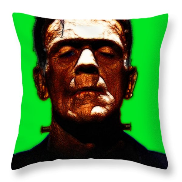 Frankenstein - Green Throw Pillow by Wingsdomain Art and Photography