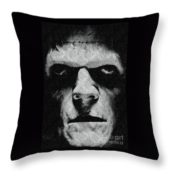 Frankenstein Throw Pillow by Janette Boyd