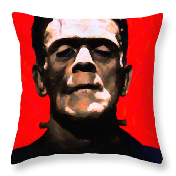 Frankenstein - Painterly - Red Throw Pillow by Wingsdomain Art and Photography