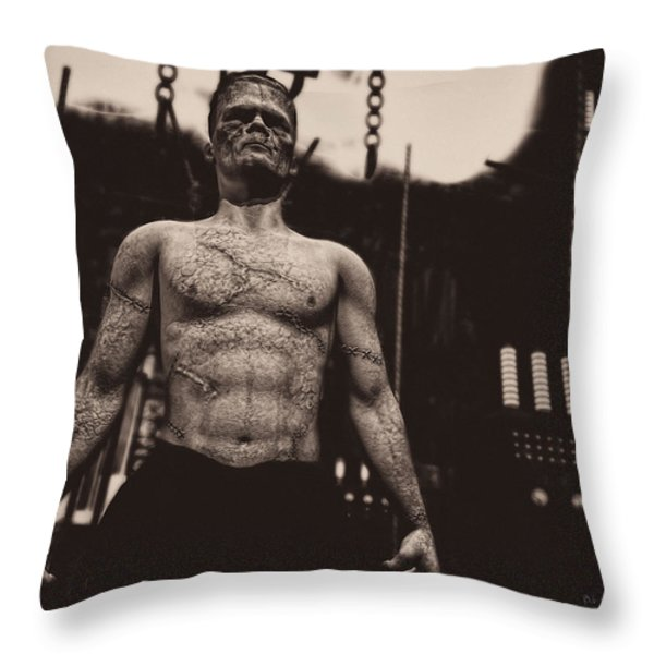 Frankenstein's Science Throw Pillow by Bob Orsillo