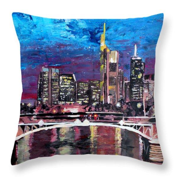 Frankfurt Main Germany - Mainhattan Skyline Throw Pillow by M Bleichner